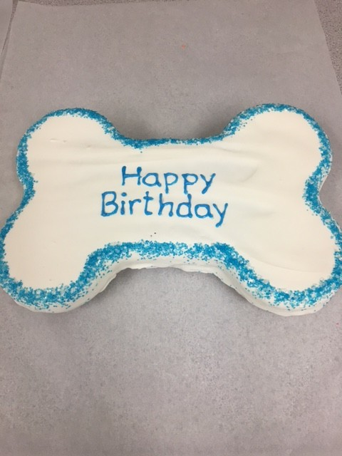 Dog Birthday Cake Bone Blue
