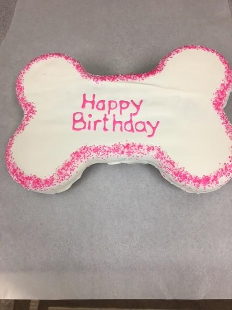Dog Birthday Cake Bone Pink
