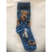 Airedale Sock on Blue Size 9-11