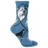 American Bulldog Sock on Blue Size 10-13