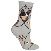 Australian Cattle Dog Sock on Gray Size 10-13