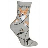 Basenji Sock on Gray Size 9-11
