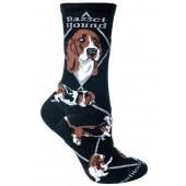Basset Sock on Black Size 9-11